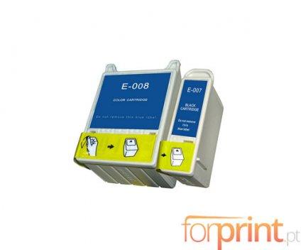 2 Tinteiros Compativeis, Epson T007 Preto 16ml + T008 Cor 43ml