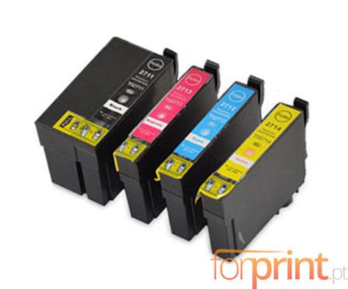 4 Tinteiros Compativeis, Epson T2701-T2704 / T2711-T2714 Preto 22.4ml + Cor 15ml