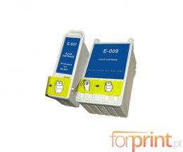 2 Tinteiros Compativeis, Epson T007 Preto 16ml + T009 Cor 62ml