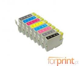 8 Tinteiros Compativeis, Epson T0341-T0348 Preto + Cor