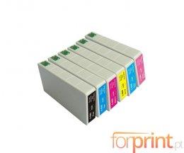 6 Tinteiros Compativeis, Epson T5591-T5596 Preto + Cor 16ml