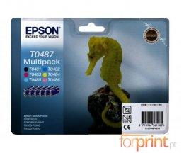 6 Tinteiros Originais, Epson T0481-T0486 Preto 13ml + Cor 13ml