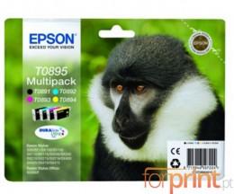 4 Tinteiros Originais, Epson T0895 T0891-T0894 Preto 5.8ml + Cor 3.5ml