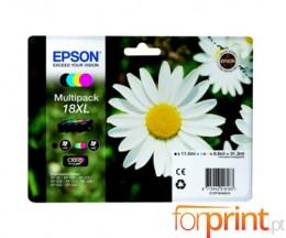 4 Tinteiros Originais, Epson T1816 Preto 12ml + Cor 7ml