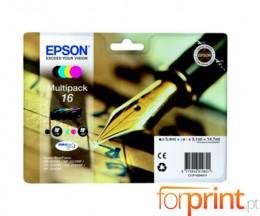 4 Tinteiros Originais, Epson T1626 Preto 5.4ml + Cor 3.1ml