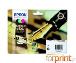 4 Tinteiros Originais, Epson T1636 Preto 12.9ml + Cor 6.5ml