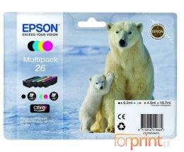 4 Tinteiros Originais, Epson T2601 Preto 6.2ml + T2612-T2614 Cor 4.5ml
