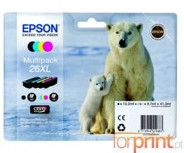 4 Tinteiros Originais, Epson T2621 Preto 12ml + T2632-T2634 Cor 10ml