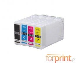 4 Tinteiros Compatíveis, Epson T7901-T7904 / T7911-T7914 Preto 42ml + Cor 19ml