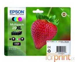 4 Tinteiros Original, Epson T2991-T2994 Preto 11.3ml + Cor 6.4ml