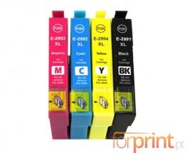 4 Tinteiros Compativeis, Epson T2991-T2994 Preto 17ml + Cor 13ml