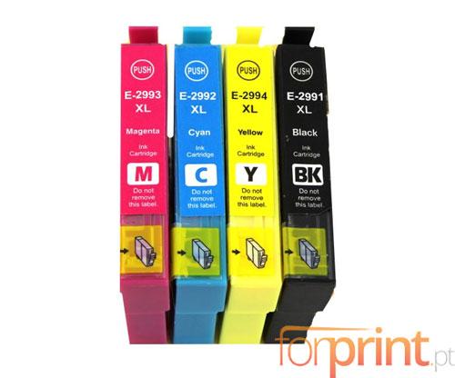 4 Tinteiros Compativeis, Epson T2991-T2994 / 29 XL Preto 17ml + Cor 13ml