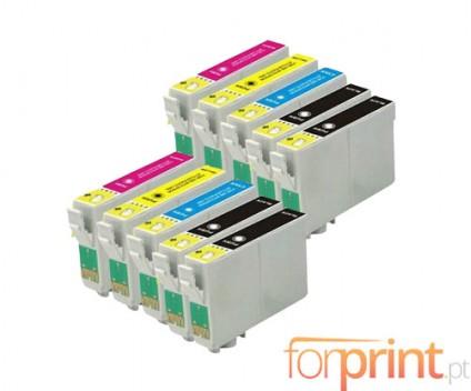 10 Tinteiros Compativeis, Epson T2991-T2994 Preto 17ml + Cor 13ml