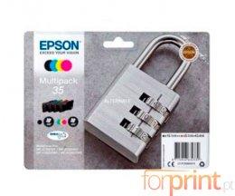 4 Tinteiros Originais, Epson T3586 Preto 16.1ml + Cor 9.1ml