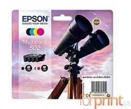 4 Tinteiros Originais, Epson T02V6 / 502 Preto + Cor