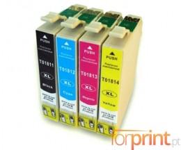 4 Tinteiros Compativeis, Epson T1811-T1814 Preto 17ml + Cor 13ml