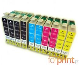 10 Tinteiros Compativeis, Epson T1811-T1814 Preto 17ml + Cor 13ml