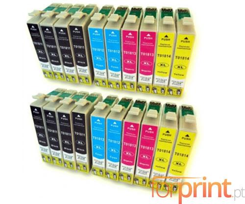 20 Tinteiros Compativeis, Epson T1811-T1814 Preto 17ml + Cor 13ml