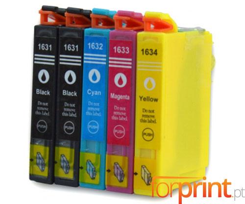 5 Tinteiros Compativeis, Epson T1631-T1634 Preto 17ml + Cor 11.6ml