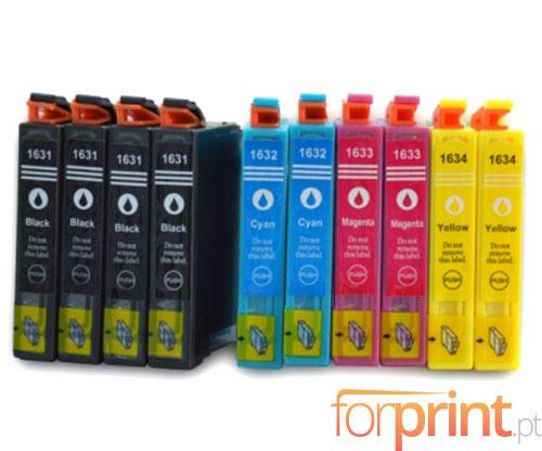 10 Tinteiros Compativeis, Epson T1631-T1634 Preto 17ml + Cor 11.6ml