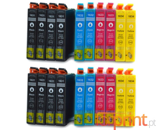 20 Tinteiros Compativeis, Epson T1631-T1634 Preto 17ml + Cor 11.6ml