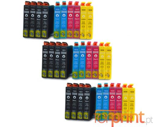 30 Tinteiros Compativeis, Epson T1631-T1634 Preto 17ml + Cor 11.6ml