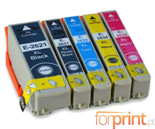 5 Tinteiros Compativeis, Epson T2621 Preto 26ml + T2631-T2634 Cor 13ml