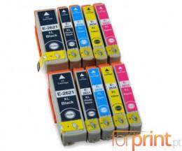 10 Tinteiros Compativeis, Epson T2621 Preto 26ml + T2631-T2634 Cor 13ml