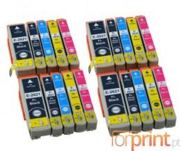 20 Tinteiros Compativeis, Epson T2621 Preto 26ml + T2631-T2634 Cor 13ml