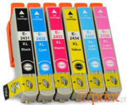 6 Tinteiros Compativeis, Epson T2431-T2436 Preto 13ml + Cor 13ml