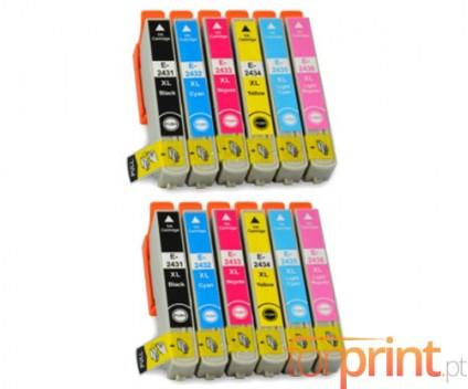 12 Tinteiros Compativeis, Epson T2431-T2436 Preto 13ml + Cor 13ml