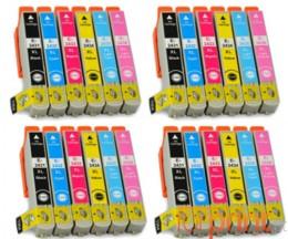24 Tinteiros Compativeis, Epson T2431-T2436 Preto 13ml + Cor 13ml