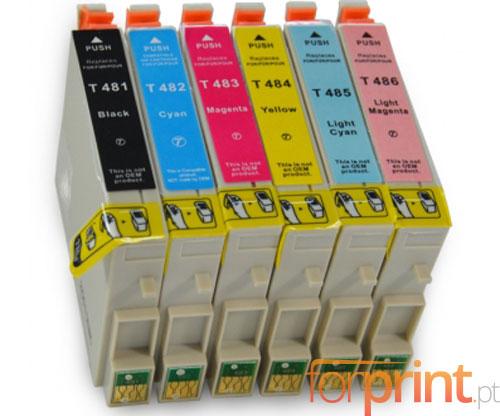 6 Tinteiros Compativeis, Epson T0481-T0486 Preto 18ml + Cor 18ml
