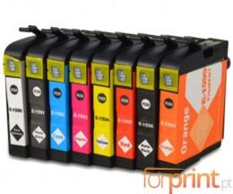 8 Tinteiros Compativeis, Epson T1590-T1599 Preto 17ml + Cor 17ml