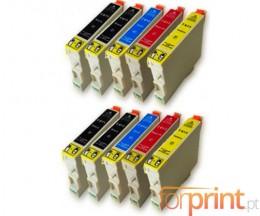 10 Tinteiros Compativeis, Epson T0611-T0614 Preto 17ml + Cor 15ml