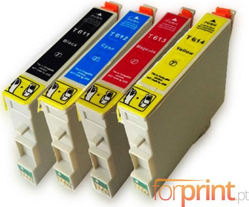4 Tinteiros Compativeis, Epson T0611-T0614 Preto 17ml + Cor 15ml