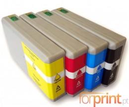 4 Tinteiros Compativeis, Epson T7011-T7014 / T7021-T7024 / T7031-T7034 Preto 59ml + Cor 35ml