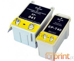 2 Tinteiros Compativeis, Epson T041 Cor 37.2ml + T040 Preto 17.8ml