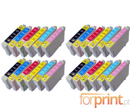 24 Tinteiros Compativeis, Epson T0801-T0806 Preto 13ml + Cor 13ml