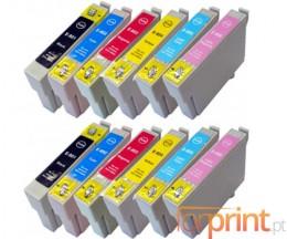 12 Tinteiros Compativeis, Epson T0801-T0806 Preto 13ml + Cor 13ml