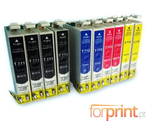 10 Tinteiros Compativeis, Epson T0711-T0714 Preto 13ml + Cor 13ml