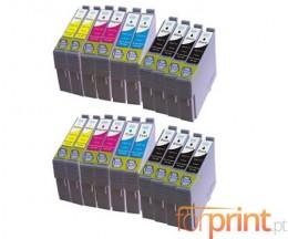 20 Tinteiros Compativeis, Epson T0711-T0714 Preto 13ml + Cor 13ml