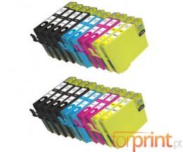20 Tinteiros Compativeis, Epson T1291-T1294 Preto 15ml + Cor 13ml