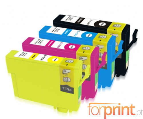 4 Tinteiros Compativeis, Epson T1281-T1284 Preto 13ml + Cor 6.6ml