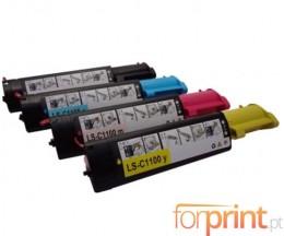 4 Toners Compativeis, Epson S050190 Preto + S05018X Cor ~ 4.000 Paginas