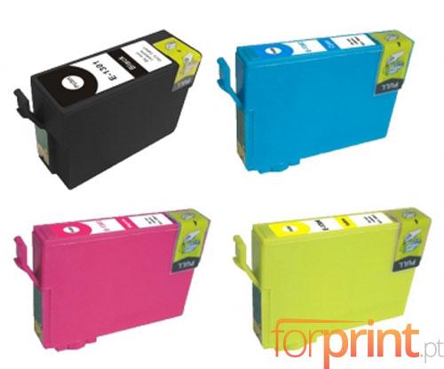 4 Tinteiros Compativeis, Epson T1301-T1304 Preto 33ml + Cor 14ml