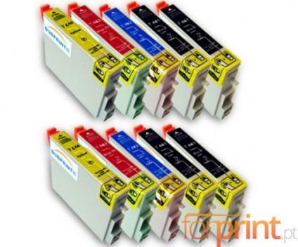 10 Tinteiros Compativeis, Epson T0441-T0444 Preto 17ml + Cor 17ml