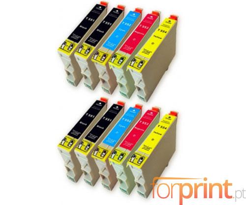 10 Tinteiros Compativeis, Epson T0551-T0554 Preto 17ml + Cor 16ml