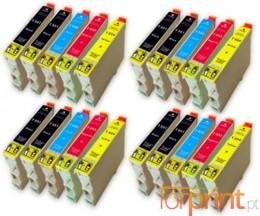 20 Tinteiros Compativeis, Epson T0551-T0554 Preto 17ml + Cor 16ml