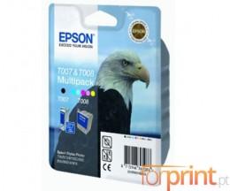 2 Tinteiros Originais, Epson T007 Preto 16ml + T008 Cor 46ml
